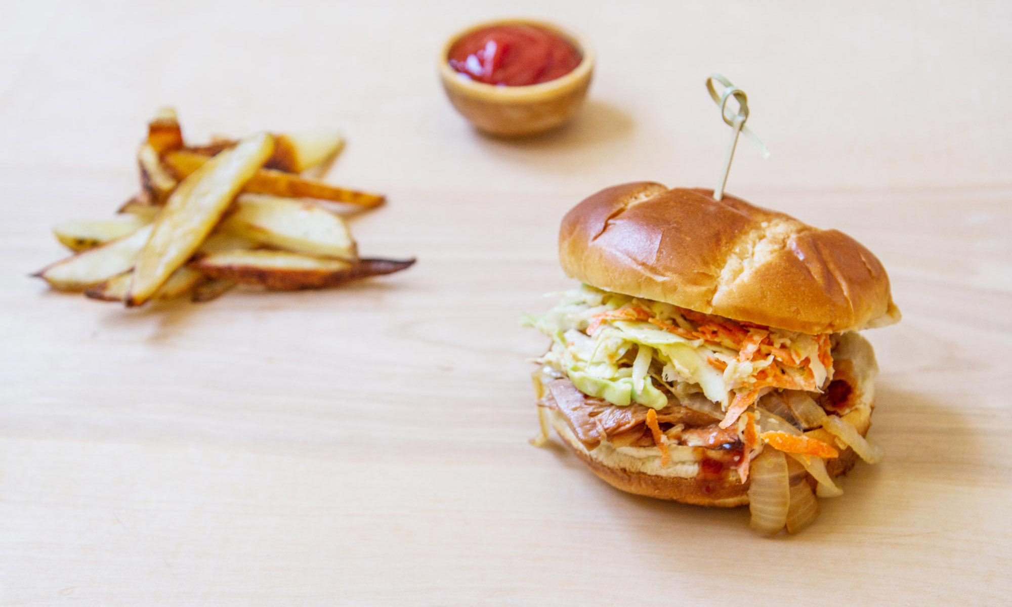 Bar-B-Que Slaw Sandwich with Caramelized Onions