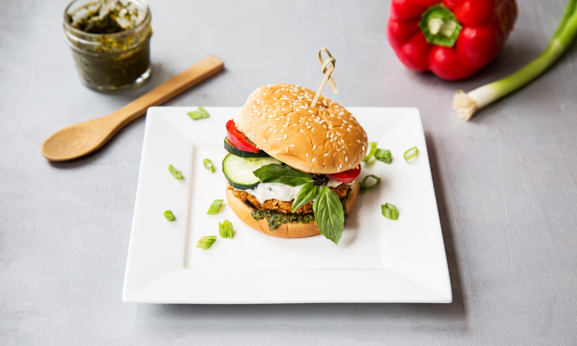 Thai Curry Burger with Coconut Basil Sauce and Curry Pesto