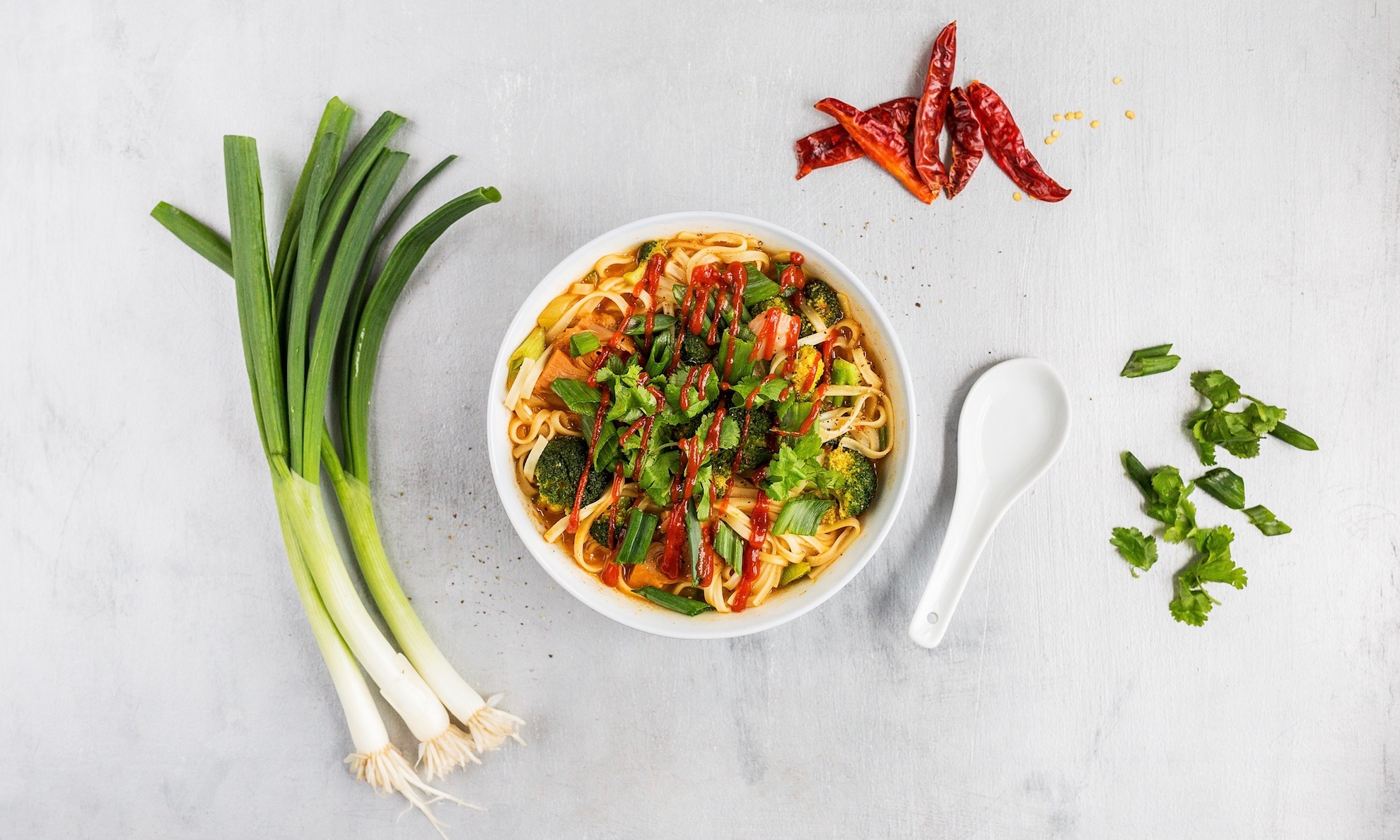 15-Minute Noodle Soup with Sriracha Jackfruit